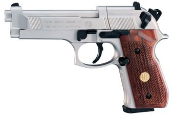 Beretta M92FS Pellet Airgun - Nickel With Wood Accents